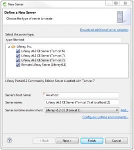 seleccionar liferay server