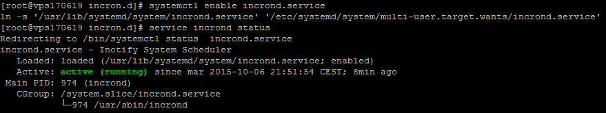 systemctl enabled incrond service